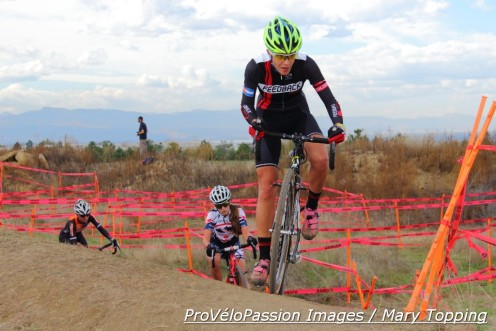 Caitlyn Vestal leads junior Katie Clouse and Amanda Miller midway into the women's elite race at 2014 Cross of the North day 2