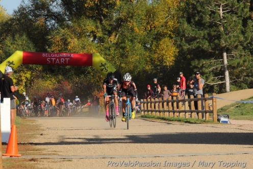 Amanda Miller puts the hurt on Nicole Duke in the sprint for the win at Valmont Bike Park.