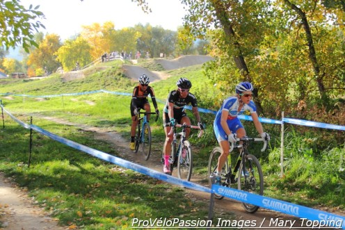 Catharine Pendrel, Nicole Duke, and Amanda Miller sped off the front early in the elite women's Cyclo X race at Valmont Bike Park