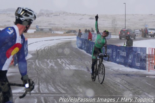 Gage Hecht wins the elite race at 2014 Colorado state cyclocross championships in Castle Rock