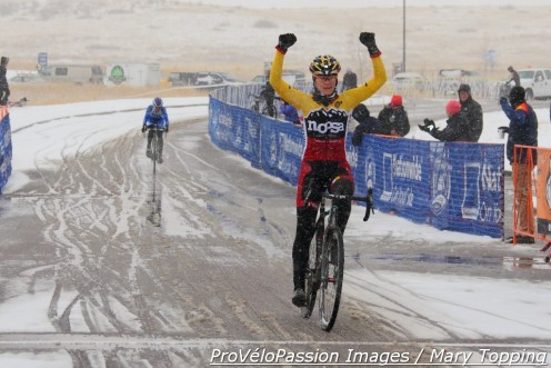 Meredith Miller wins the 2014 Colorado state cyclocross championship ahead of last year's champion, Georgia Gould