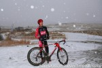 Spencer Powlison in a post-race snow globe
