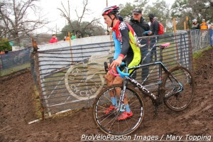 Gavin Haley in a front-side off-camber section at 2015 'cross nationals