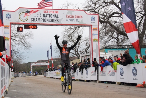 Pete Webber wins 44 - 49 2015 national cyclocross championship, his fifth national title