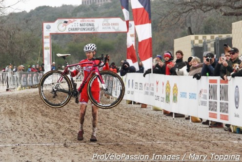 Logan Owen wins his tenth consecutive US cyclocross championship which requires a new kind of victory salute