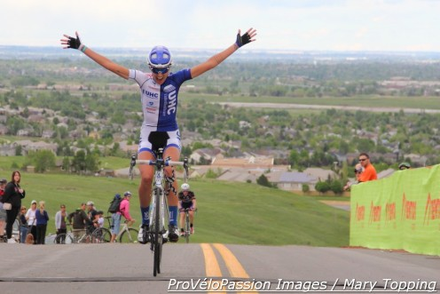 "Abbey Mickey wins the 2015 Morgul-Bismark road race after summitting ""The Wall."""