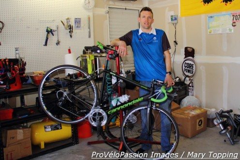 Taylor Jung in his bicycle-friendly garage