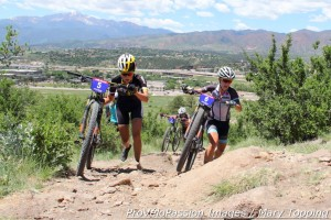 Chloe Woodruff tries to pass Erin Huck near the top of the long climb