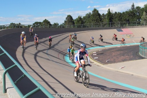 Kirsten Williams leads a silent lap at the 7-Eleven Olympic Training Center Velodrome  in honor of her father, Vic Willaims