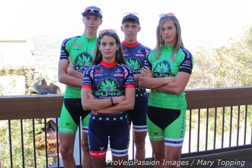 Games faces on Alpha Bicycle Company - Vista Subaru elite devo teammates Brannan Fix, Katie Clouse, Gage Hecht, and Ashley Zoerner (l to r). Evan Clouse is the fifth elite rider.