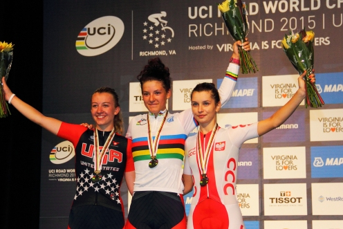 2015 road worlds jr women's podium (l - r) Emma White 2nd, Chloe Dygert 1st, Agnieszka Skalniak 3rd