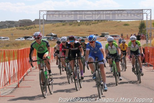 Women's elite start at Rhyolite Park Cross, Ashley Zoerner (left) sets up to take the hole shot