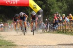 Sprint in full throttle (l-r: Weber, Clouse,Barker)