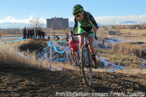 Katie Clouse on a tricky section with Meredith Miller