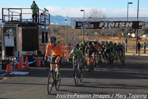Grant Ellwood, Gage Hecht and Maxx Chance lead the men's elite field off the line at 2016 Colorado cyclocross championships
